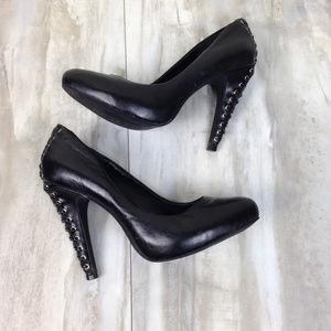 Jessica Simpson Black Leather Heels 8B